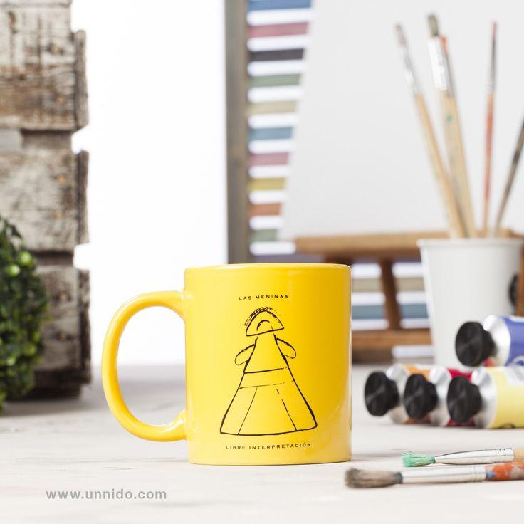 #Taza Menina Singular. Disfrutar del #cafe o la #infusion, puede ser toda una obra de arte. Con esa idea varios chichos y chicas con #discapacidad intelectual realizaron una libre interpretación de Las #Meninas, obra maestra del pintor español Diego #Velazquez. Colores: Nojo, naranja, verde y amarillo. Disponible en #Unnido: https://www.unnido.com/taza-menina-singular.html#/color-amarillo