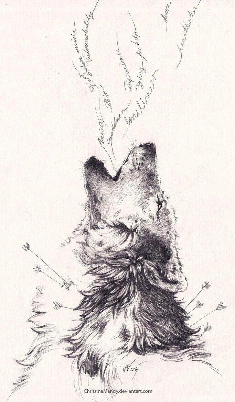 Dessin, tatouage, loup, flèches, hurlement, douleur, encre noire