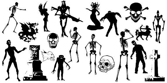 Halloween monsters, ghosts, witch, alien. Clipart silhouette vector HQ 300dpi commercial and personal use instant download, MEGA PACK 100pcs