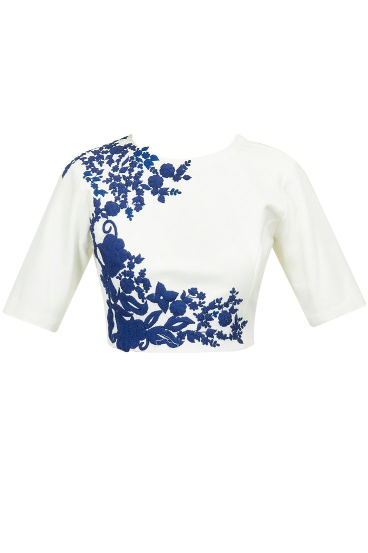 Ivory crop top with blue floral detailing available only at Pernia's Pop-Up Shop.