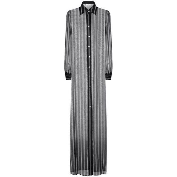 Lanvin Sheer Stripe Maxi Shirt Dress ($2,780) ❤ liked on Polyvore featuring dresses, maxi shirt dress, stripe dresses, shirt dress, sparkly cocktail dresses and sheer dress