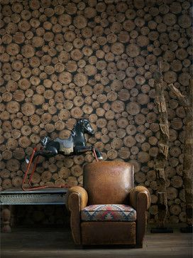 Rustic Lodge Wooden Log Ends Wallpaper - Timber - transitional - Wallpaper - Kathy Kuo Home