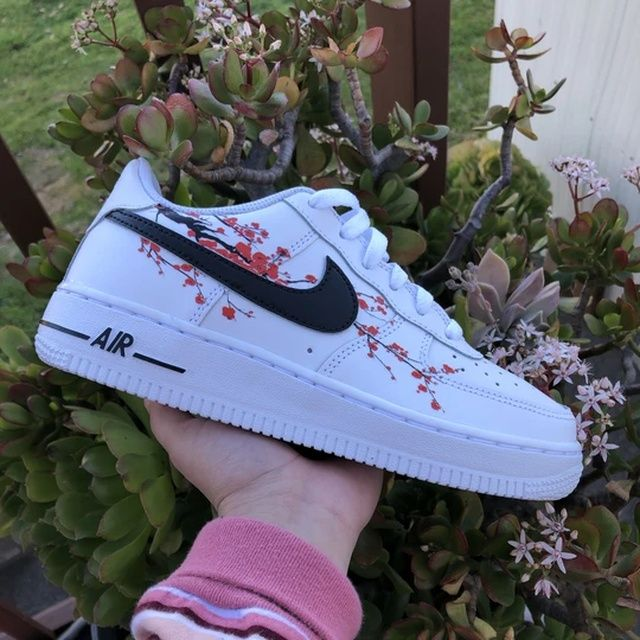 Cherry Blossom Air Force 1 The Custom Movement Air Force One Shoes Nike Air Shoes Custom Nike Shoes