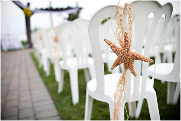 Chair decor: Beach Chairs, Dreams Parties, Maryland Brides, Green Ribbons, Decor Tiffany, Chairs Decor, Beach Theme, Aisle Decor, Starfish Aisle