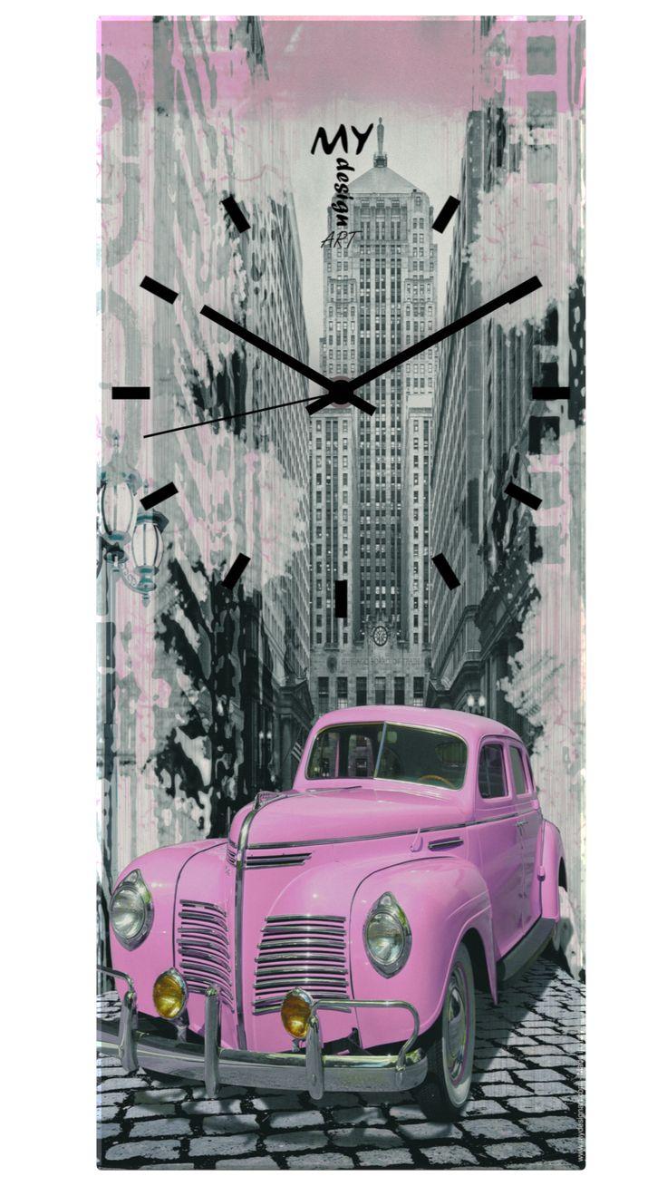 """Orologio da Parete """"Time"""" Pink Car. by MyDesignArt. www.mydesignart.com"""