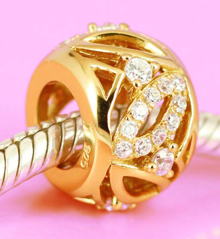 Solid S Silver Vermeil GOLD Elegant BEAD w 36pcs Sparkling CZ For Charm Bracelet