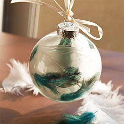 DIY feather Christmas ornaments.