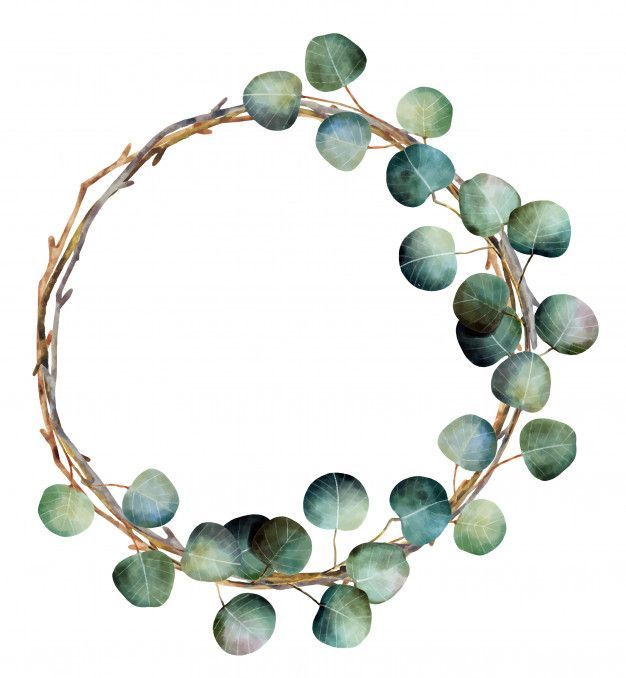 Watercolor Christmas Wreath with Eucalyptus Branches Premium Vector