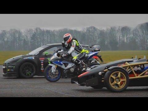 Ariel Atom V8 vs 600bhp rallycross Citroen DS3 vs BMW HP4 superbike drag...