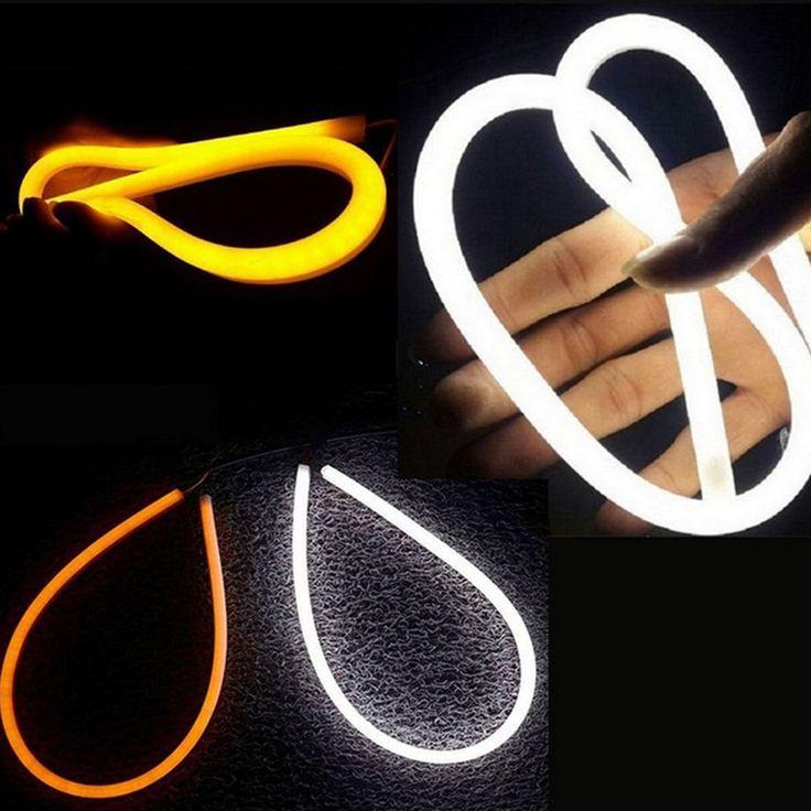 30/45/60 cm Gaya Daytime Running Lampu DRL Fleksibel DIPIMPIN Tabung Strip Air Mata Strip Lampu Mobil Gilirannya sinyal Cahaya Lampu Parkir