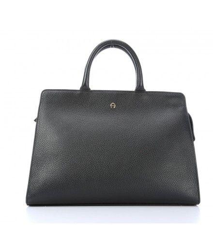 Aigner Cybill M Handtasche genarbtes Rindsleder schwarz - 133275-Black bei WARDOW.com