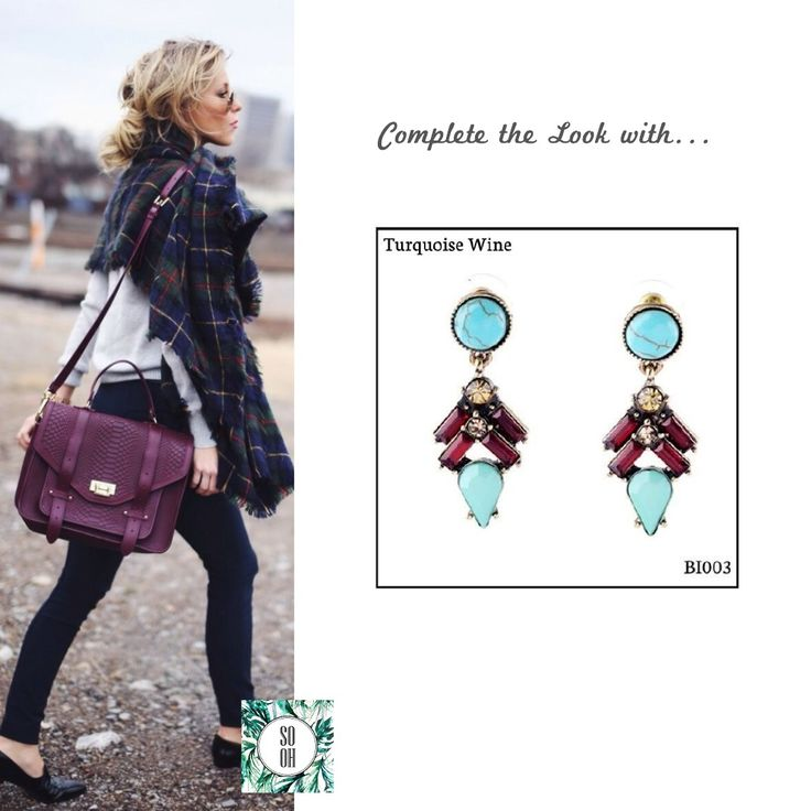 Ref: BI003 Turquoise Wine Medidas: 4.6 cm x 1.8 cm So Oh: 7.99 🌱 #sooh_store #onlinestore #style #inspiration #styleinspiration #brincos #earrings #fashion #shoponline #aw2016 #aw1617 #winterstyle