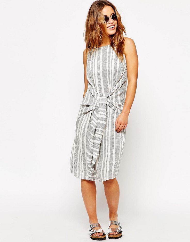 Image 4 of ASOS PETITE Knot Front Stripe Dress