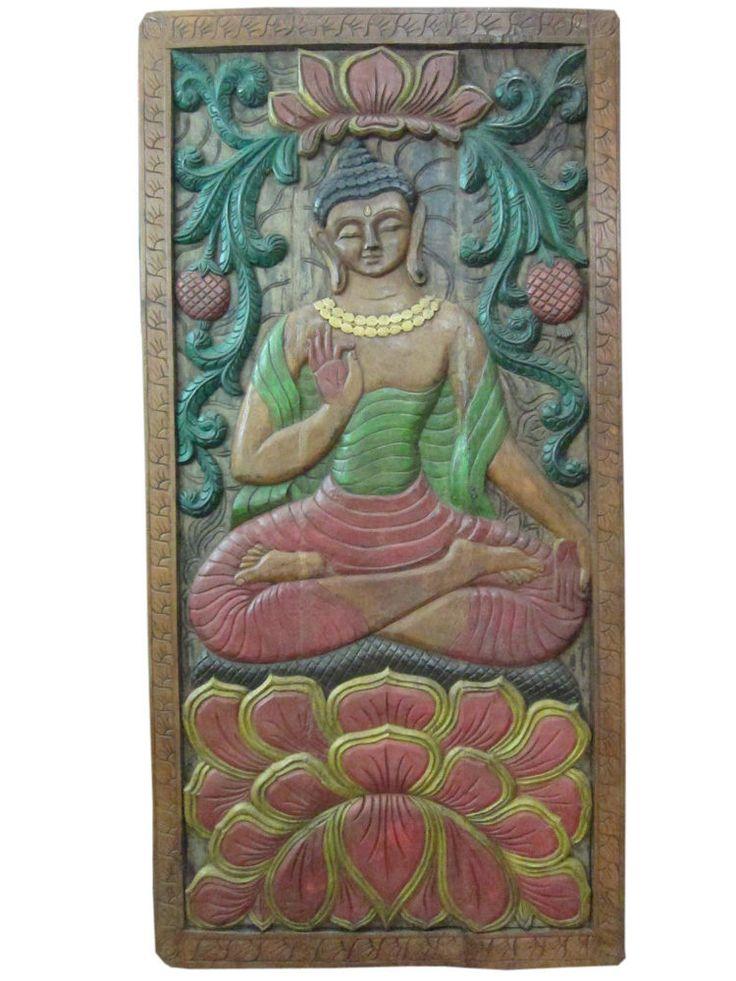 antique carving Hand Carved Wall Panel Vitarka Teaching Buddha India Door #vastuveda