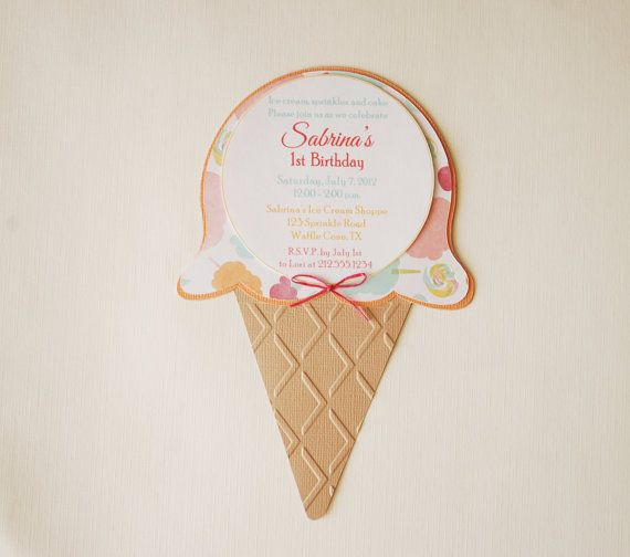 adorable ice cream sundae invitations # childrens #Invitations #hootsie #carnivalSugar Waffles, Cream Shape, Shoppe Ice, Birthday Invitations, Cones Birthday, Ice Cream, Pastel Colors, Shape Sugar, Cream Shoppe