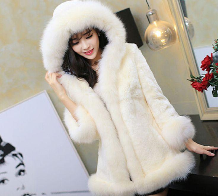 Womens Faux Fur Hooded Coat Parka Sweet Luxury Overcoat Winter Jacket Q906