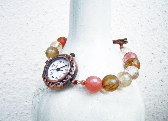 Orologio rame autunno, orologio agate colori caldi, orologio rame agata colorata, orologio gioiello, orologio donna