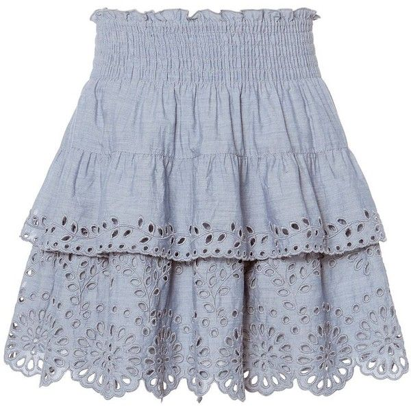 St. Roche Women's Juno Chambray Eyelet Skirt (6.665 UYU) ❤ liked on Polyvore featuring skirts, chambray, short skirt, юбки, scalloped skirt, tiered skirt, floral print skirt, floral skirt and lined skirt