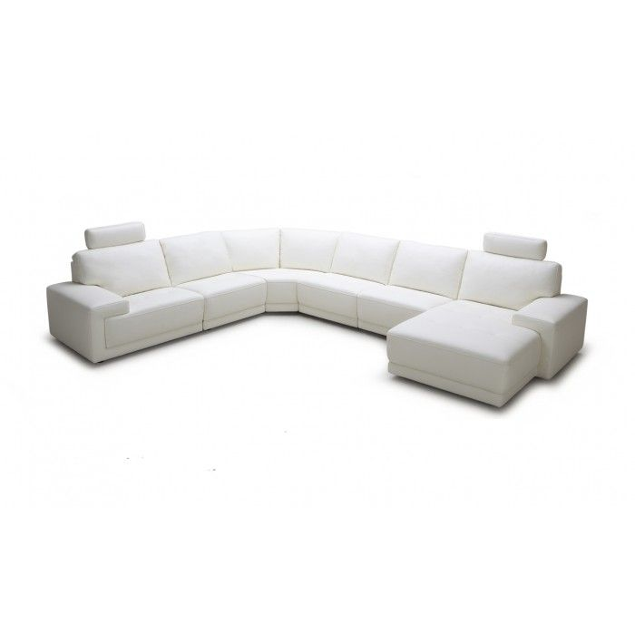 Divani Casa Cypress - Modern White Eco-Leather Sectional Sofa with Headrests
