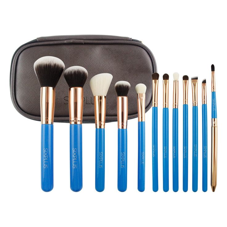 SIXPLUS 12PCS Professional Makeup Brushes Set Premium Cosmetics Brushes for Eye and Face with Makeup Kit(Blue). Made of horse hair and synthetic hair, the brushes are dense and shaped well.,soft silky and resilient,easy to pick up powder. Special Design: Shining handle+royal golden ferrule +a multifunctional makeup bag ;wherein 3pcs eyeshadow brushes bristles are horsehair,other brushes are made of synthetic hair, also equipped with portable travel lip brush. Professional Makeup Brush...