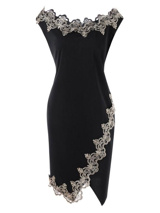 Gamiss Summer Women Dresses Plus Size 5XL Flower Embroidered Trim Bodycon Dress Robe Office Ladies Boat Neck Sleeveless Vestido