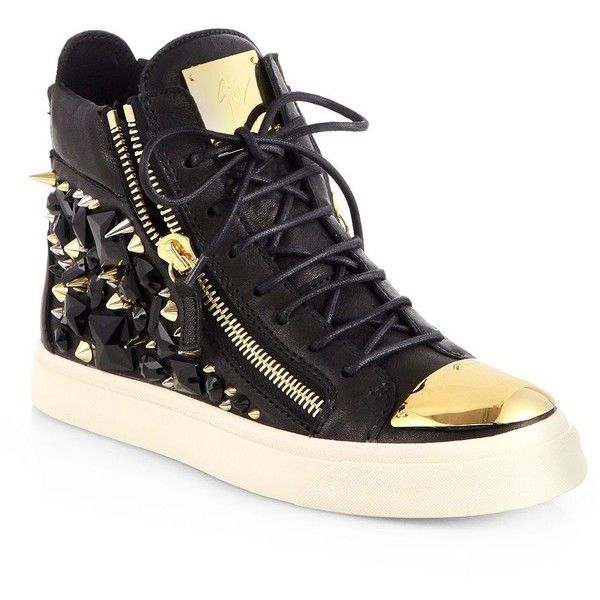 Giuseppe Zanotti Gem Studded Leather High-Top Sneakers found on Polyvore