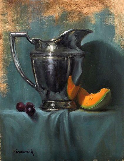 cantaloupe with silver by Brenda Semanick  ~  x