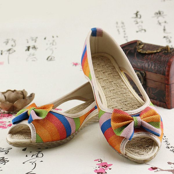Rainbow Butterflyknot Colorful Hollow Out Peep Toe Wedge Heel Sandals