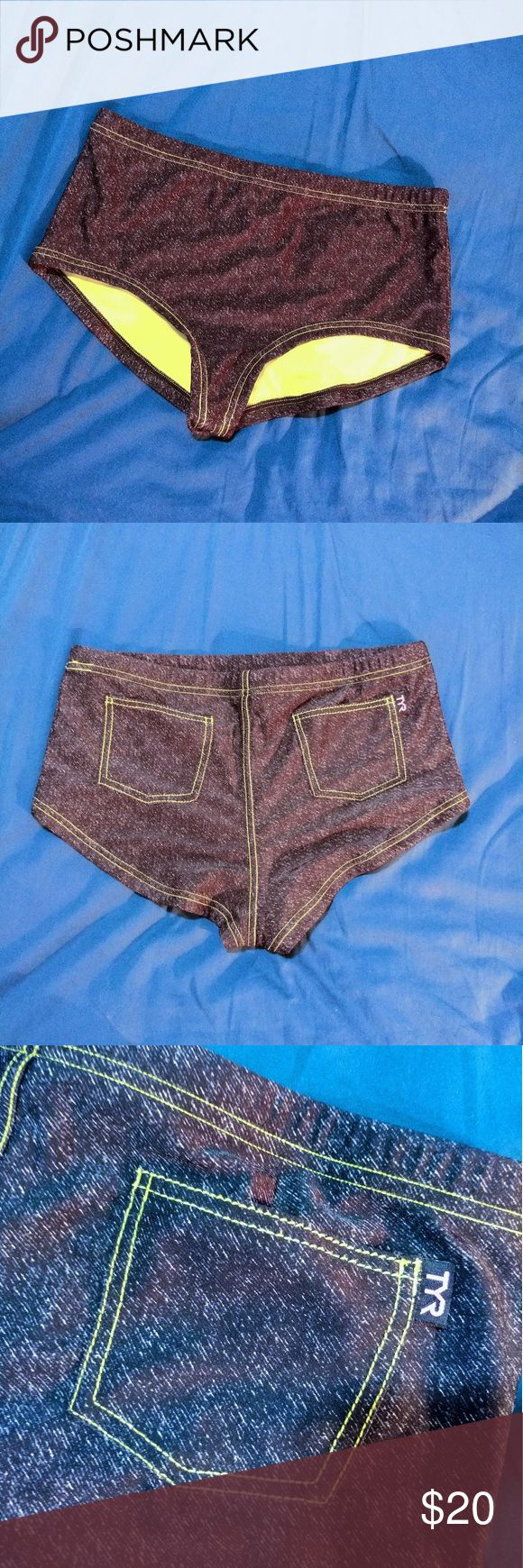 Denim look Tyr active swim bottoms XL *Tyr brand.  *excellent condition *size juniors XL *high waisted, boy shorts swim bikini bottoms, super cute *black denim look, but is swimsuit material *fluorescent yellow/green liner. 2 back pockets *active sports swim brand. Bottoms stay in place when you participate in beach sports  Make an offer TYR Swim Bikinis