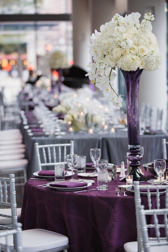 Purple Passion Wedding At Orchestra Hall Linen Effects Wedding Event And Party Rental Decor Located Wedding Rentals Rental Decorating Wedding Decorations