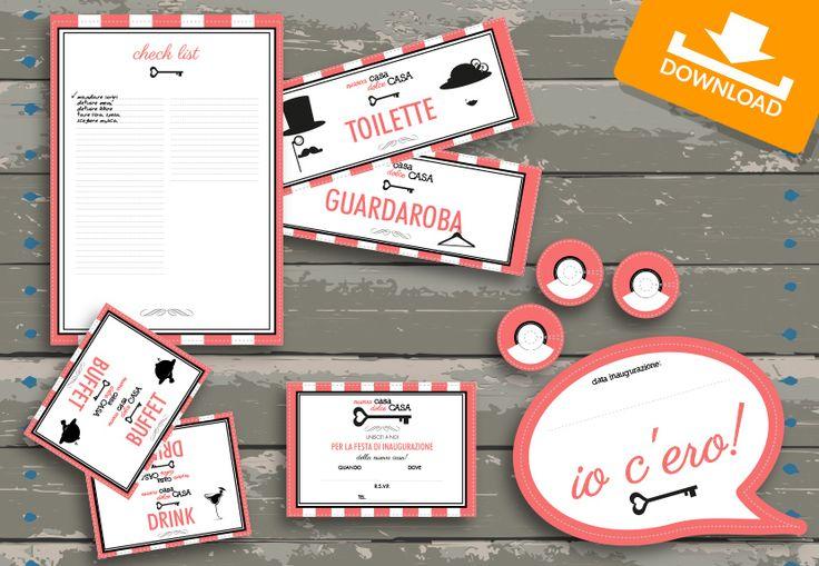 #Kit #scaricabili #gratis: Retrò!| Festeggiamo Insieme la tua #casanuova con i materiali per la #festa di #inaugurazione!