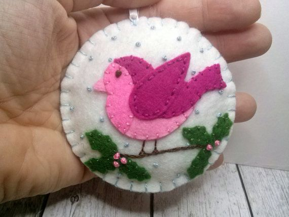 Roze vogel sieraad, vogel Kerstdekoratie, vilt vogel sieraad, voelde / Pink Christmas decoratie, Christmas decor, Woodland Christmas