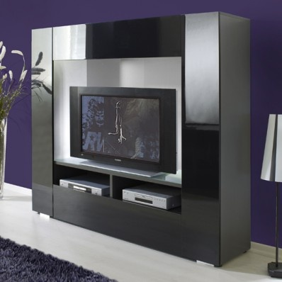 Stylus High Gloss Black & Grey Large Tv Stand, 6180-05 - Tv Stands - Living Room Furniture  £479.53