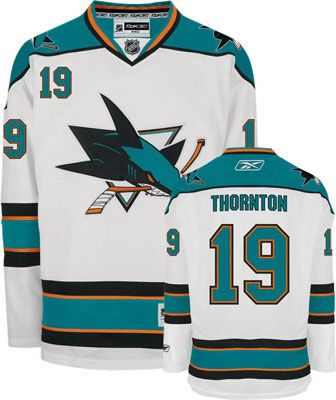 San Jose Sharks Joe Thornton 19 White Authentic Jersey Sale