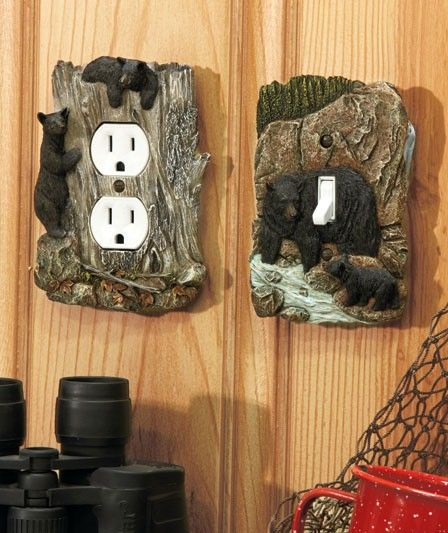 Rustic Log Cabin Decor | Rustic Wildlife Lodge Log Cabin Decor 3D Outlet or Light Switch Covers ...