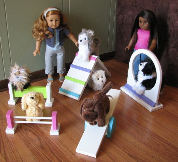 Pampered Pet Playground - 5 Piece Playset for American Girl Doll sized Pets - MAY SHIPPING on Etsy, $145.00