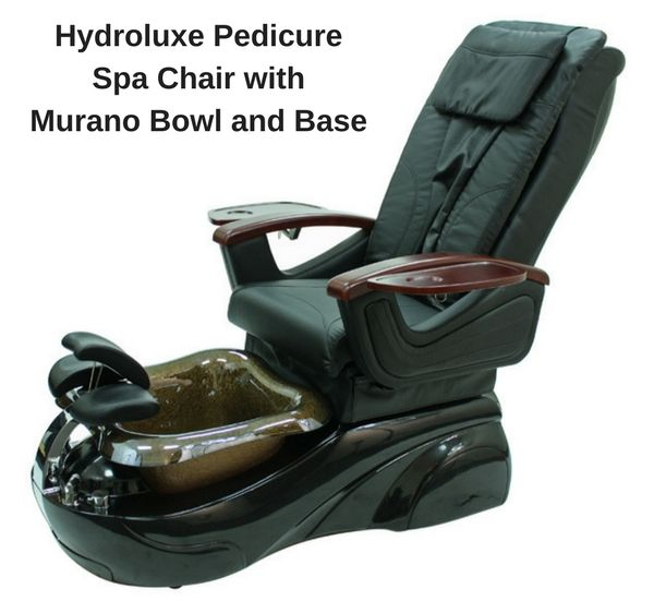 The Hydroluxe pedicure chair features a Luraco Jet pipe-less motor made in the USA, durable glass bowl, adjustable leg support, acrylic fiberglass reinforced base.  The chair is fully adjustable and features movable armrests.