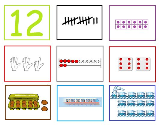 Cijferkaart 12: Met deze cijferkaarten kun je veel rekenactiviteiten doen in de groep. Ze kunnen heel goed gebruikt worden bij de digibordles: http://digibordonderbouw.nl/index.php/lessen/rekenen/telenzoek112