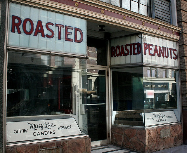 """Vintage candy store in downtown Huntington, WV --     This storefront was restored to its original condition and vintage for the filming of """"We Are Marshall"""". Unfortunately, as of mid-2010, the store is not in business, though it is in a great location in downtown Huntington, WV."""
