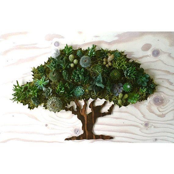 CUSTOM COLOR: Oak Tree Succulent + Cacti Vertical Garden | Vertical Planter | Living Wall | Wall Planter | Hanging Planter | Wood Planter