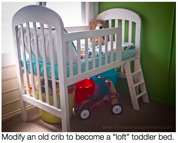 How+to+transform+your+old+crib+into+a+toddler+loft+bed+using+what+you+already+have+in+your+garage.+(This+is+such+a+fun+and+cute+toddler+bed!)+#tutorial+#diy