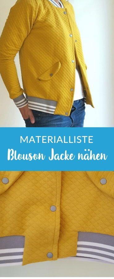 Blouson Jacke aus Waffelsweat nähen mit passender Materialliste #nähenfürmich…