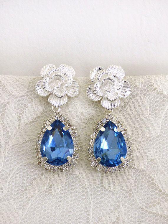 Sapphire drop earring / Wedding earings / Blue by FoldedRoses