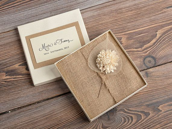 Custom listing (100) Lace and Buralp Wedding Invitation, Vintage Wedding Invitations , Rustic Box Wedding invitation