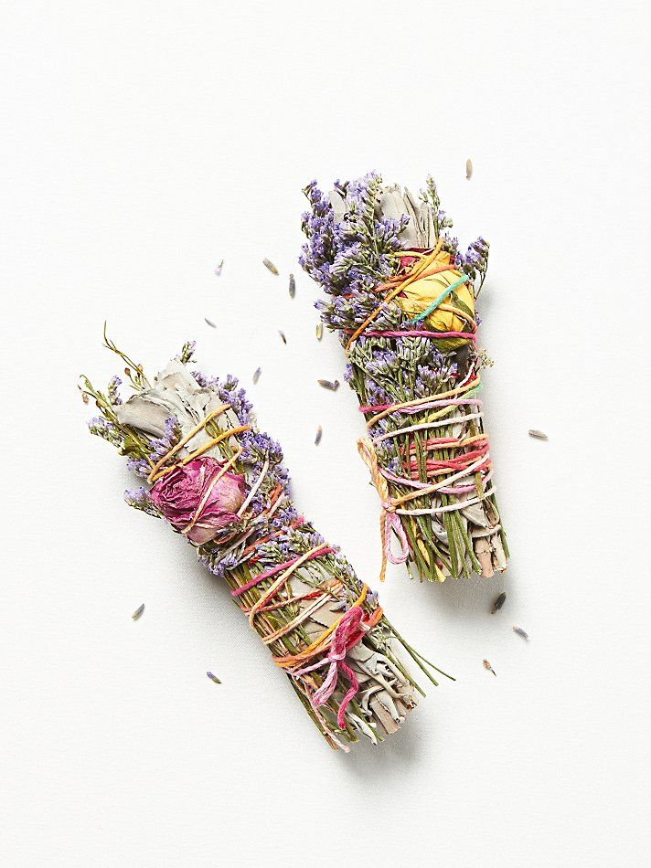 Catherine Smudge Sticks at Free People Clothing Boutique - wrapped in lavender, rosebuds and colored string. $28