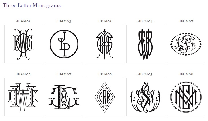 different monograming styles