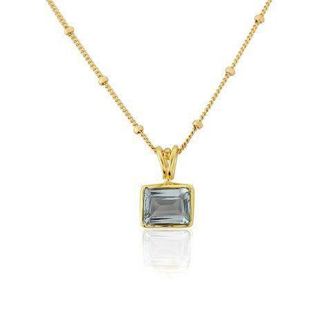 Rectangular Aquamarine Pendant Necklace