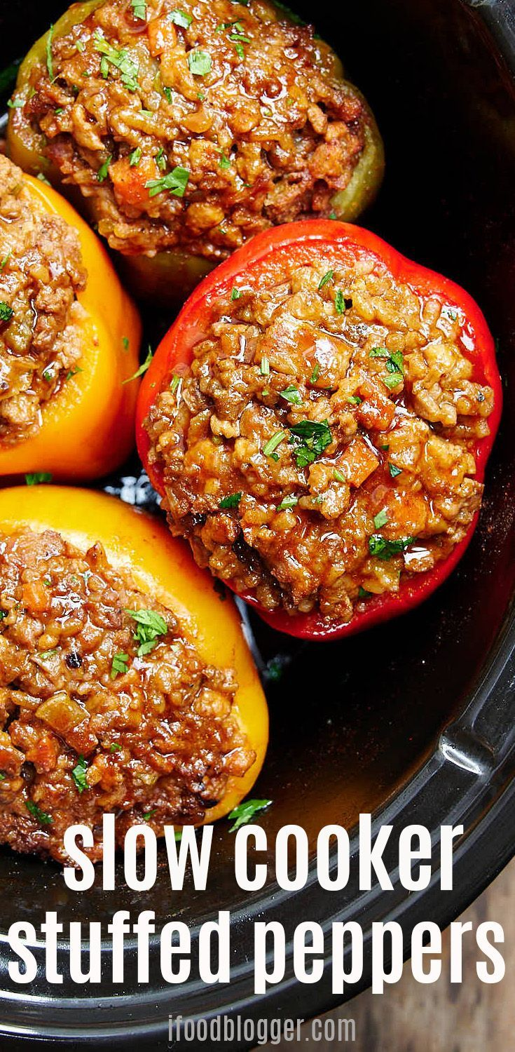 Best Beef And Pork Stuffed Bell Peppers Cook Them In A Slow Cooker On The Stove Or Slow Cooker Stuffed Peppers Stuffed Peppers Delicious Slow Cooker Recipes