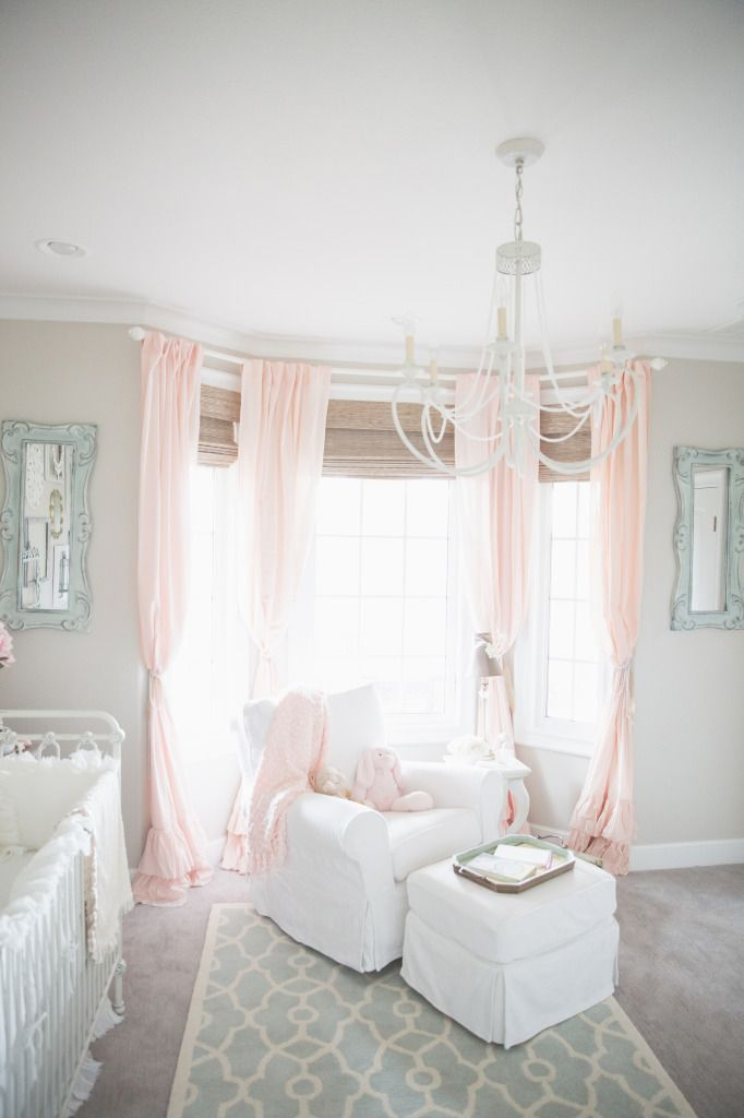 I love the gray walls with the pink curtains!