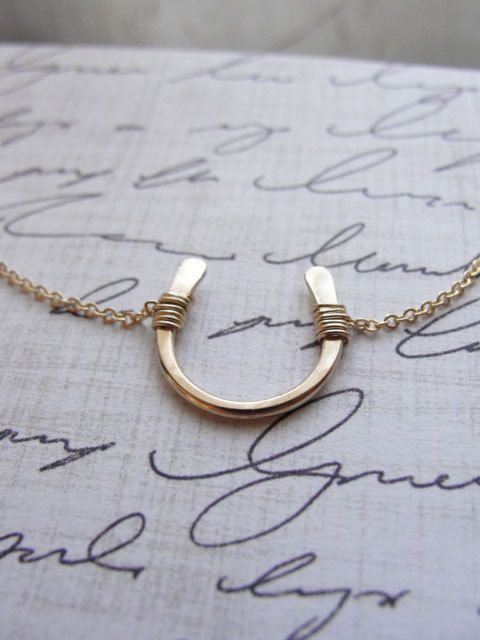 Gold horseshoe necklace  small gold horseshoe by OliveYewJewels, $38.00